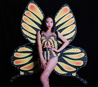 Dance Costumes Sparkly Rhinestones Butterfly Burning 3D Wing Bodysuit Singer Stage Women Outfit Nightclub Birthday Party Wear DJ