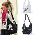Women's Fashion Letter Print Canvas Crossbody Shoulder Bag Handbag Shopping Bag