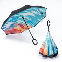 Yeni mürekkep 17 Renkler Çift Ters Katlanır Şemsiye Araba Ters Şemsiye Anti-Ultraviyole Güneş Şemsiyesi C-SHAPE Kolu