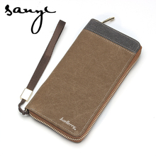 Hot Style Mens' Canvas Zipper Wallet Men Clutch Hand Bag Fashion Clutch Purse