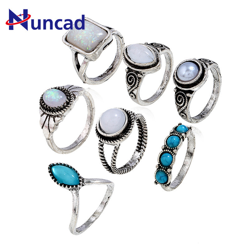 Boho Antique Silver Color Fingers Rings Sets For Women Fashion Retro Turquoises Knuckle Ring Bagues Femme