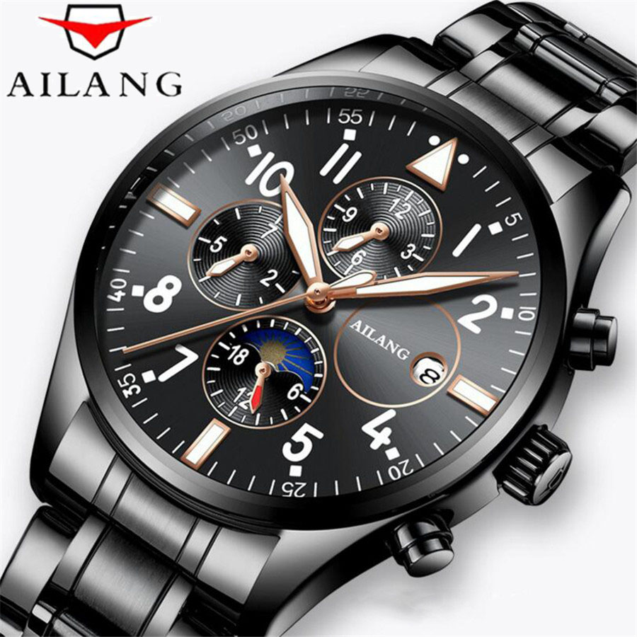 AILANG New Pilot Mens Automatic self-wind Waterproof 50M Watch Date Top Luxury Brand Stainless Steel Male Mechanical Watches NEW original binger mans automatic mechanical wrist watch date display watch self wind steel with gold wheel watches new luxury