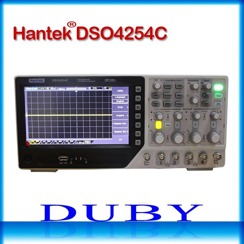 Hantek DSO4254C 4CH 1GS/s taux d'échantillonnage 250 MHz bande passante Oscilloscope de stockage numérique Portable hôte/dispositif USB intégré