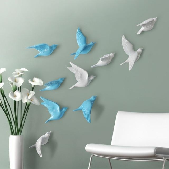 US $17.56 12% di SCONTO|Resina uccello creativo murales, decorazione della  parete, semplice tridimensionale adesivi murali camera da letto, TV sfondo  ...