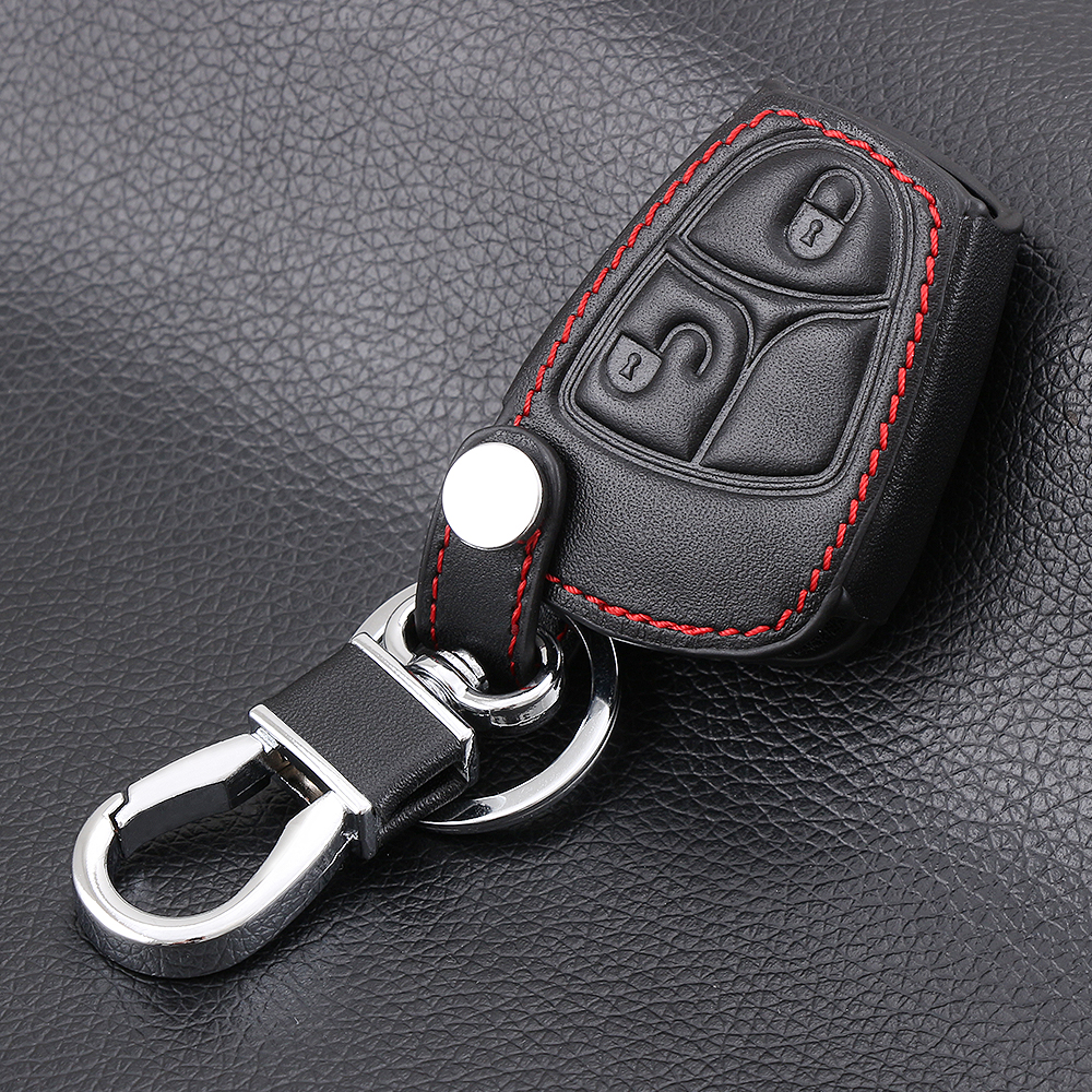 2 button genuine leather car key case key chain key cover for Key mercedes benz