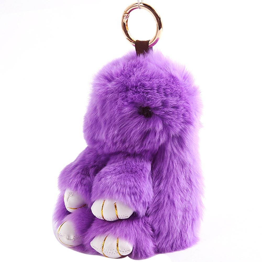 Bentuk Kelinci Lucu Fur Doll Keychain untuk Wanita Tas Hiasan Mobil Liontin Gantungan Kunci Ungu-Intl