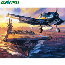 AZQSD Diy Oil Painting By Numbers Seascape Fighter Picture For Living Room Wall Canvas Art Acrylic Coloring Drawing By Number(China)