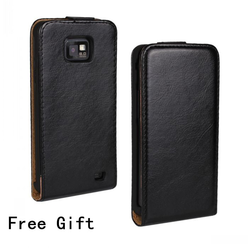 Luxus <font><b>S2</b></font> i9100 Fall Crazy Horse Leder Fall Flip-Cover Für <font><b>Samsung</b></font> Galaxy <font><b>S2</b></font> Plus Fall I9105 image