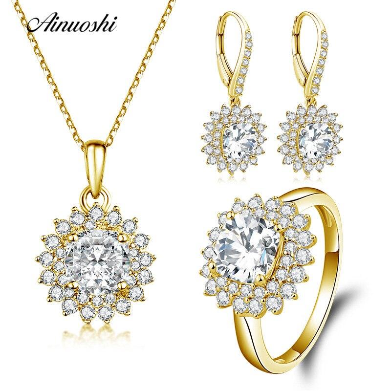 AINUOSHI 10 K sólido oro amarillo joyería Cojín cuadrado Halo anillo pendiente de gota fina boda joyería de las mujeres set de regalo