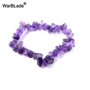 WarBLade Irregular Natural Gem Stone Bracelet Stretch Chip beads Nuggets Amazon Rose Crystal Quartz Bracelets Bangles For Women 1