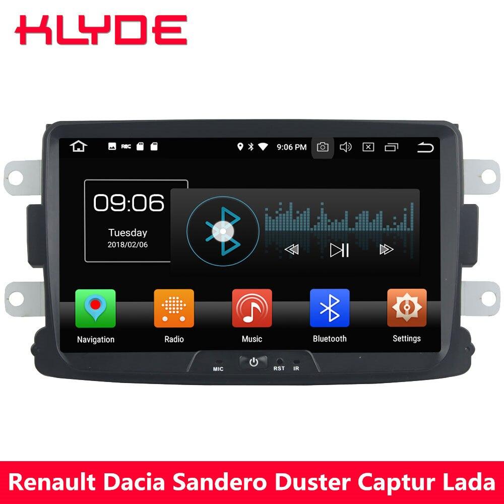 KLYDE 4g Octa Core Android 8.0 4 gb + 32 gb Car DVD Multimedia Player Radio Per Renault Xray dacia Logan Sandero Spolverino Captur Lada