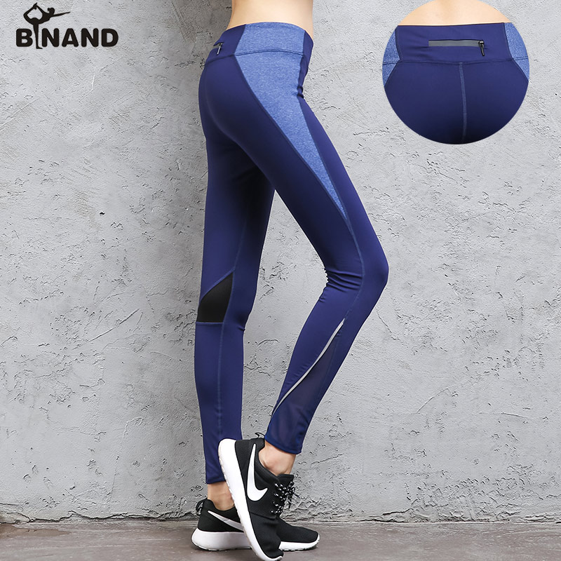 BINAND Women Zipper Pocket Reflective Night Running Yoga Pants Profession Breathable Exercises Fitness Tights Sports Trousers mid rise zipper fly pocket casual pants