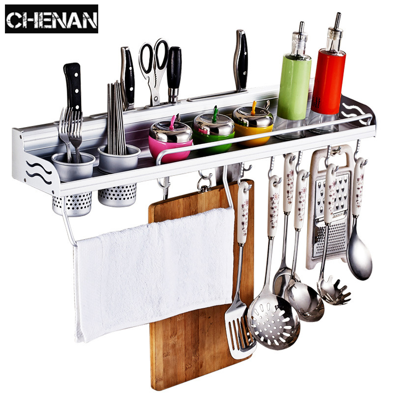 Aluminum Pantry Cookware Spice Dinnerware Shelf Storage Cutlery Holder Hook Kitchen Organizer  Foldable  towel
