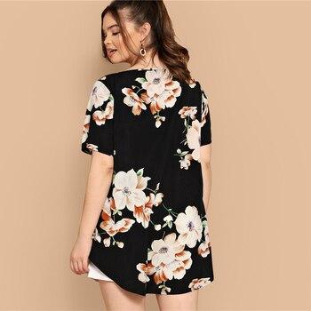 Black Boho Floral Print Asymmetrical Hem Short Sleeve Women Plus Size Blouses