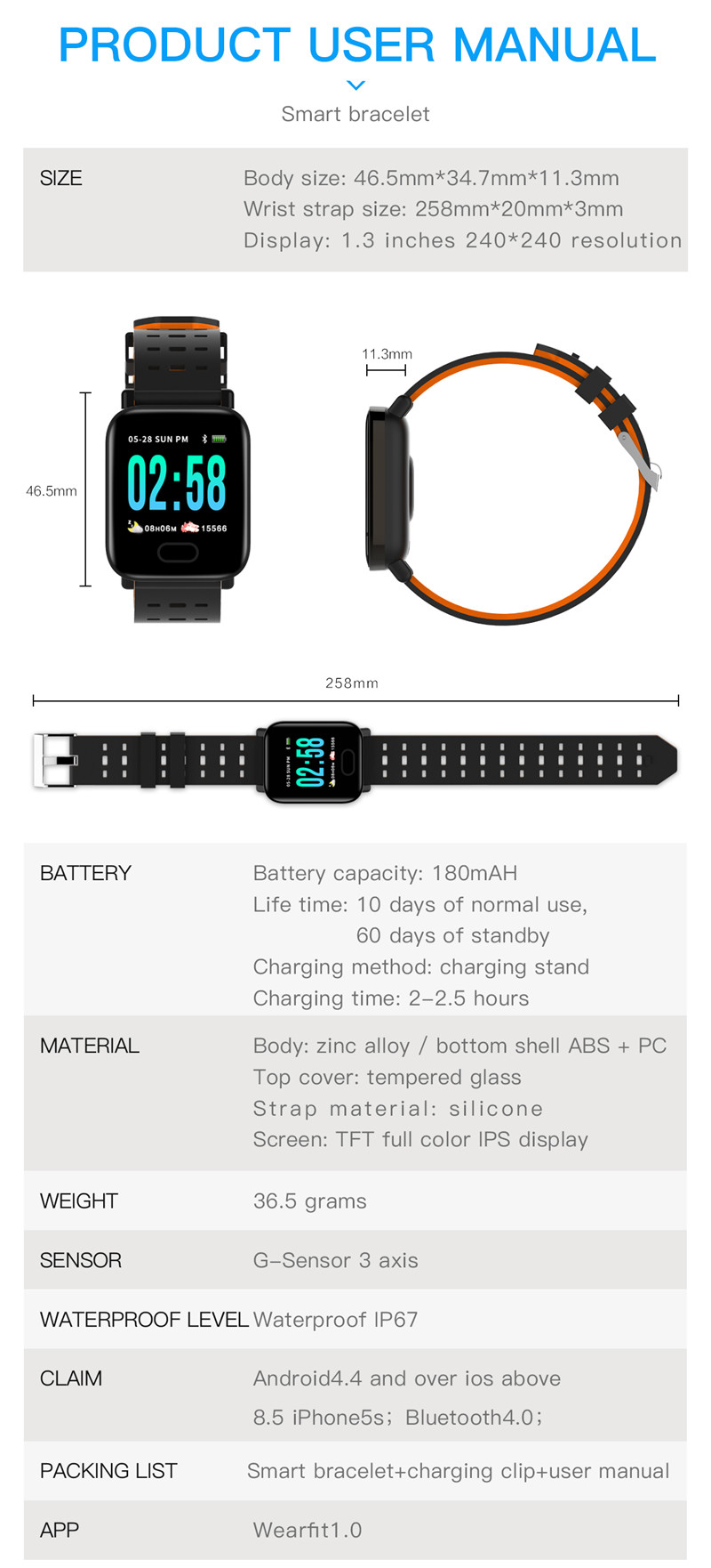 mafam A6 Smart Watch Heart Rate Monitor Sport Fitness Tracker Sleep Monitor blood pressure Waterproof Sport Watch Band for IOS Android (19)
