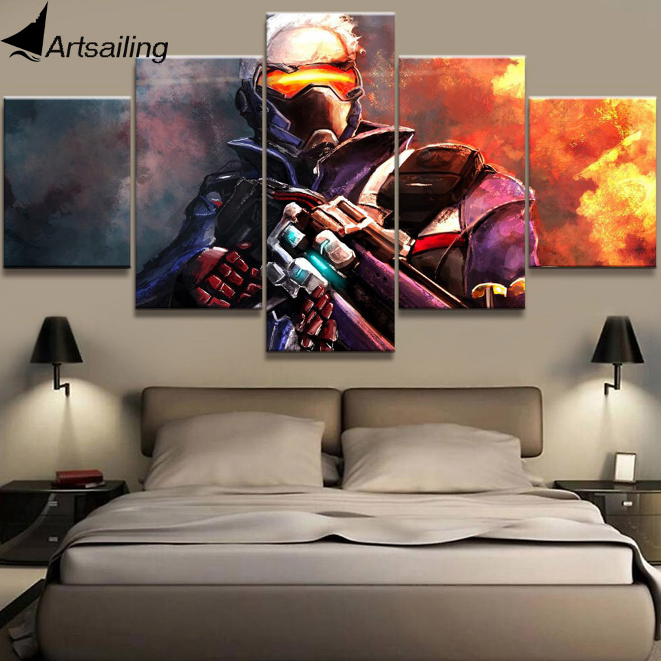 HD print 5 piece canvas painting armed warrior game painting for living room posters and prints free shipping XA-2104A