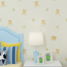 Non-woven Boy Girl Children Wallpaper Cute Bear 3D Relief Embossed Bedroom Wall Paper цена 2017