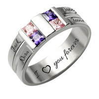 Wholesale Customized Men's Birthstone Ring Silver Four Stone Grooved Men's Ring Family Ring for Father