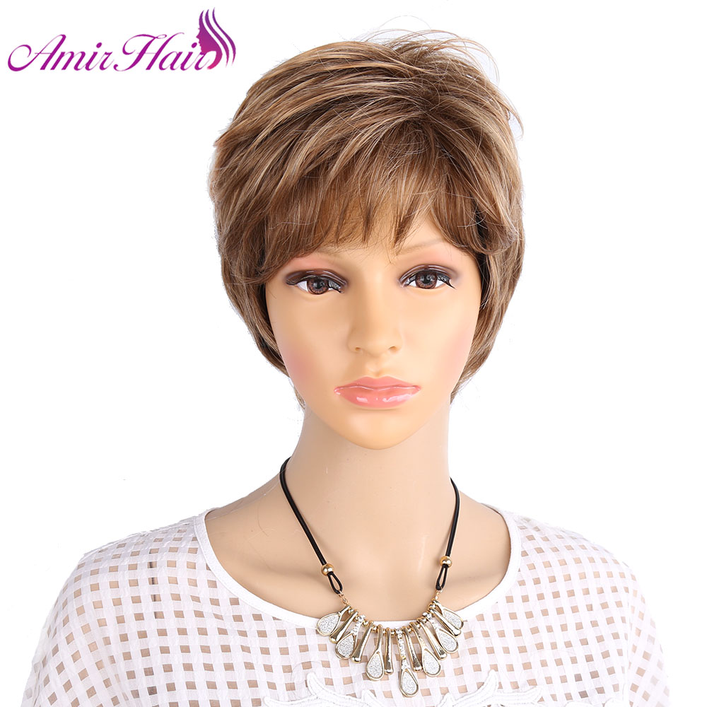 Amir Fluffy Short Wigs For White Women Blonde Wig Synthetic Short Curly Hair Wig Ombre Brown Colors For Daily Use