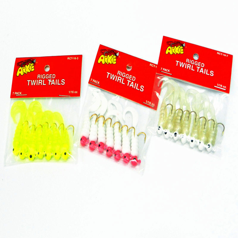 7PCS / LOT Kalapüük Lure Sea Bass Pehme hobune iscas artificiais para pesca Jig Head Twirl Tails Worm Baits Jigging Soft Bait WQ191