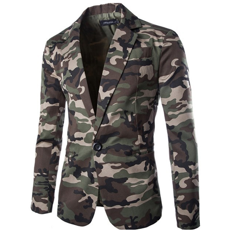Men Blazer Jacket Fashion Military Style Mens Blazers Casual Camouflage Pattern Single Button Men Blazer Slim Fit Jacket Size2XL ...