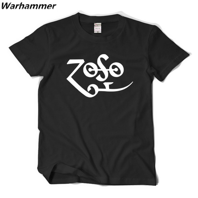 3ba8e8994 Led Zeppelin ZOSO Jimmy Page T shirt Men Rock Band Style Tee Shirt Homme  O-neck Short Sleeved XXL Summer Cotton Printed 3D Shirt
