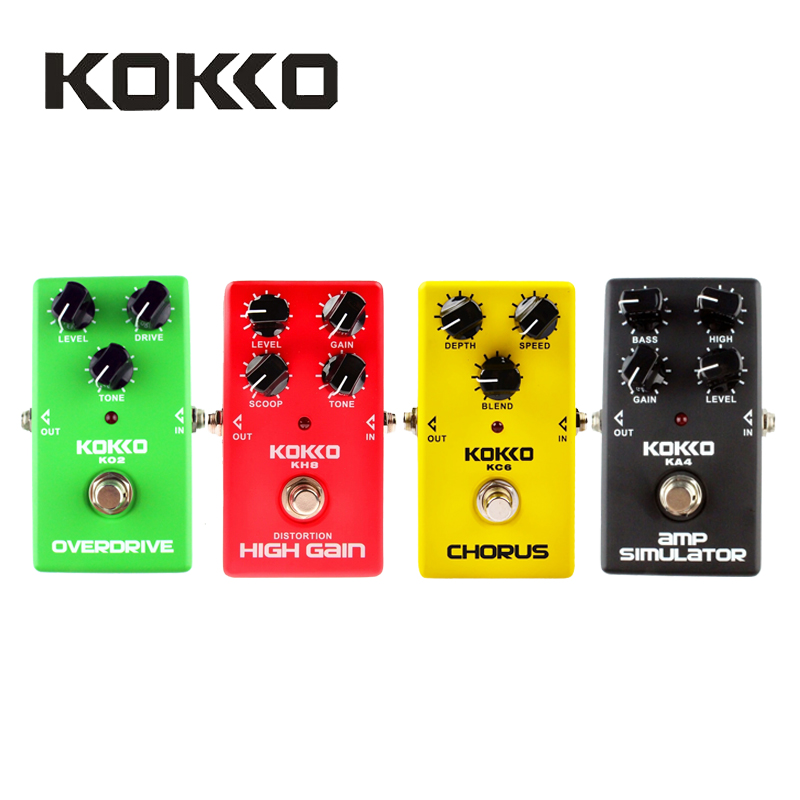 KOKKO KO2/KA4/KC6/KH8 Overdrive/AMP Simulator/Chorus/High Gain Electric Guitar Effect Pedals Guitar Parts & Accessories aroma adr 3 dumbler amp simulator guitar effect pedal mini single pedals with true bypass aluminium alloy guitar accessories
