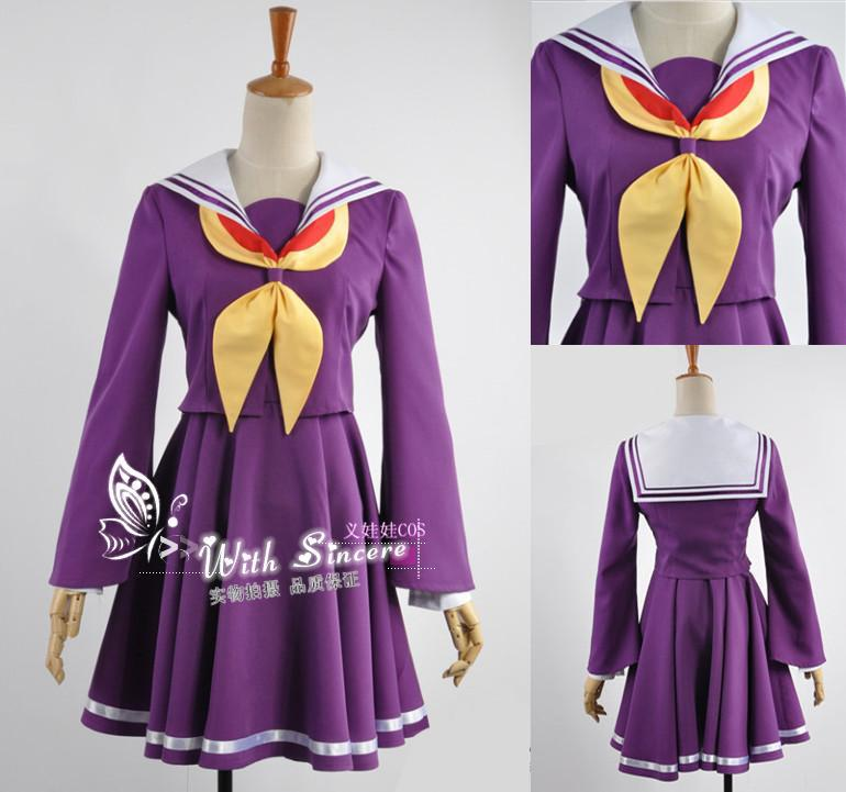 NO GAME NO LIFE Shiro School Uniforms Cosplay Costume Dress Set Free shipping6