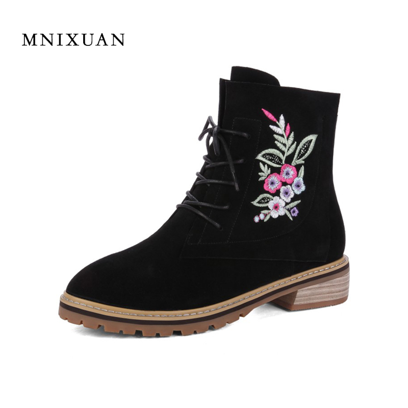 MNIXUAN women boots 2017 autumn new embroidered genuine leather ladies shoes lace up medium heels black short martin ankle boots inc new black striped lace women s medium m mock 2 fer layered blouse $69 049