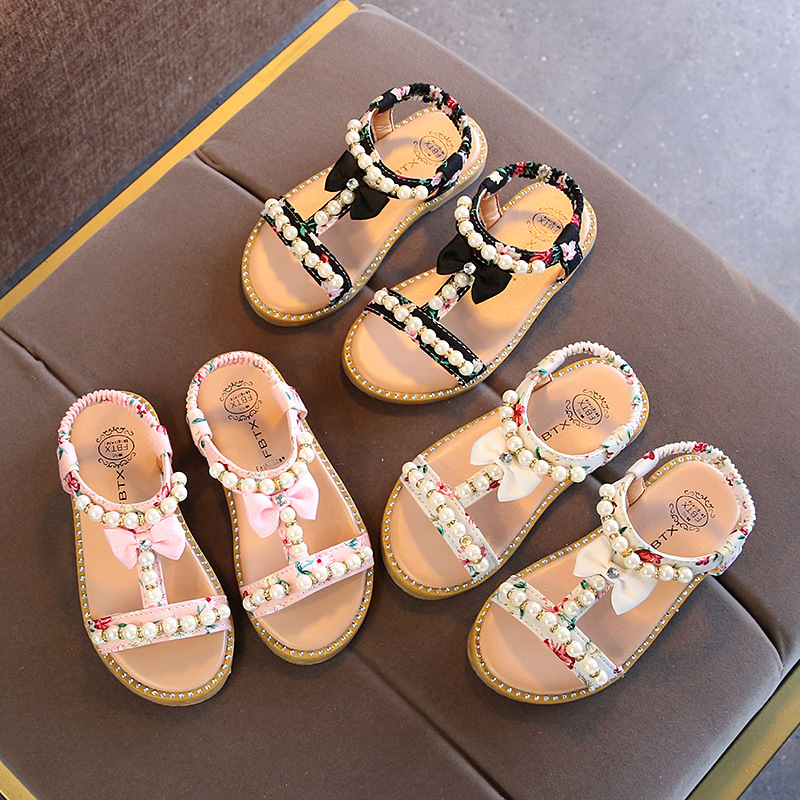 do verão pérola beading sandálias para meninas