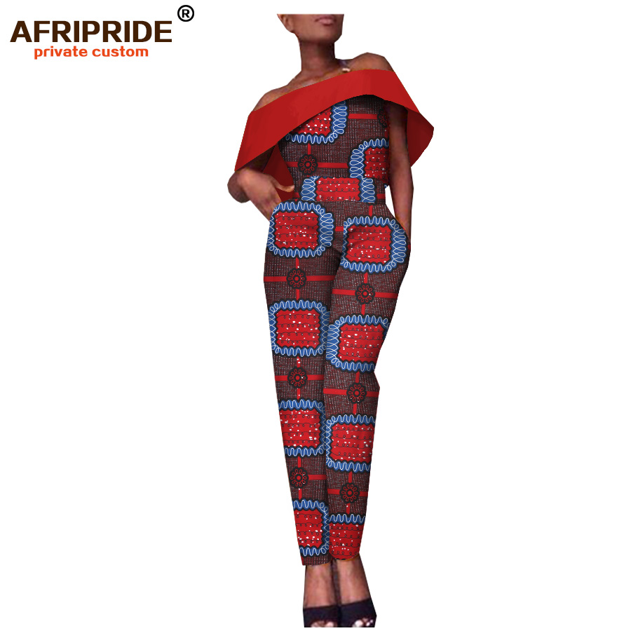 2018 latest african fabric jumpsuit for women AFRIPRIDE tailor made strapless slash neck casual women cotton jumpsuit A1829008 in Africa Clothing from Novelty Special Use