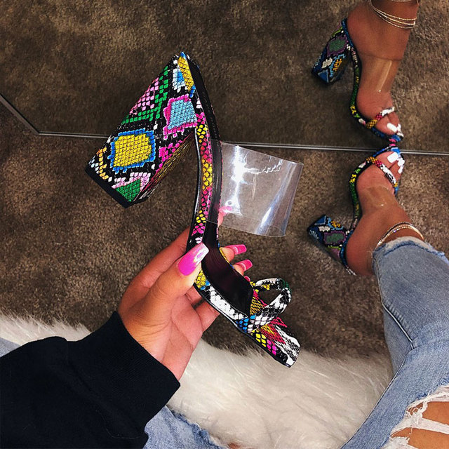 Women Transparent High Heel Candy Color Open Toes Thick Heel Fashion Female Slides