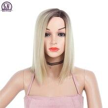 MSI Wigs, черный блонд, короткие прямые парики, синтетический женский парик, серый светильник, корень, натуральный, Омбре, парик, термостойкий