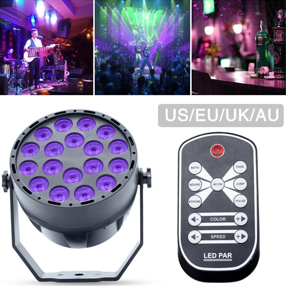 цена на UV Led Stage Light Black Light Par Light With Remote Sound Active 18 LEDs Auto DMX Spotlight Lamp for Disco DJ Club Show