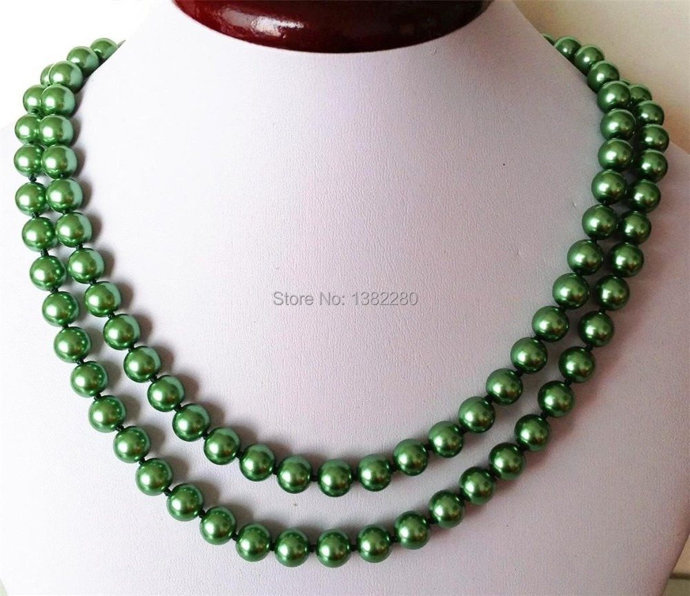 ! new Fashion Style diy 8mm Green ocean shell pearls necklace 36