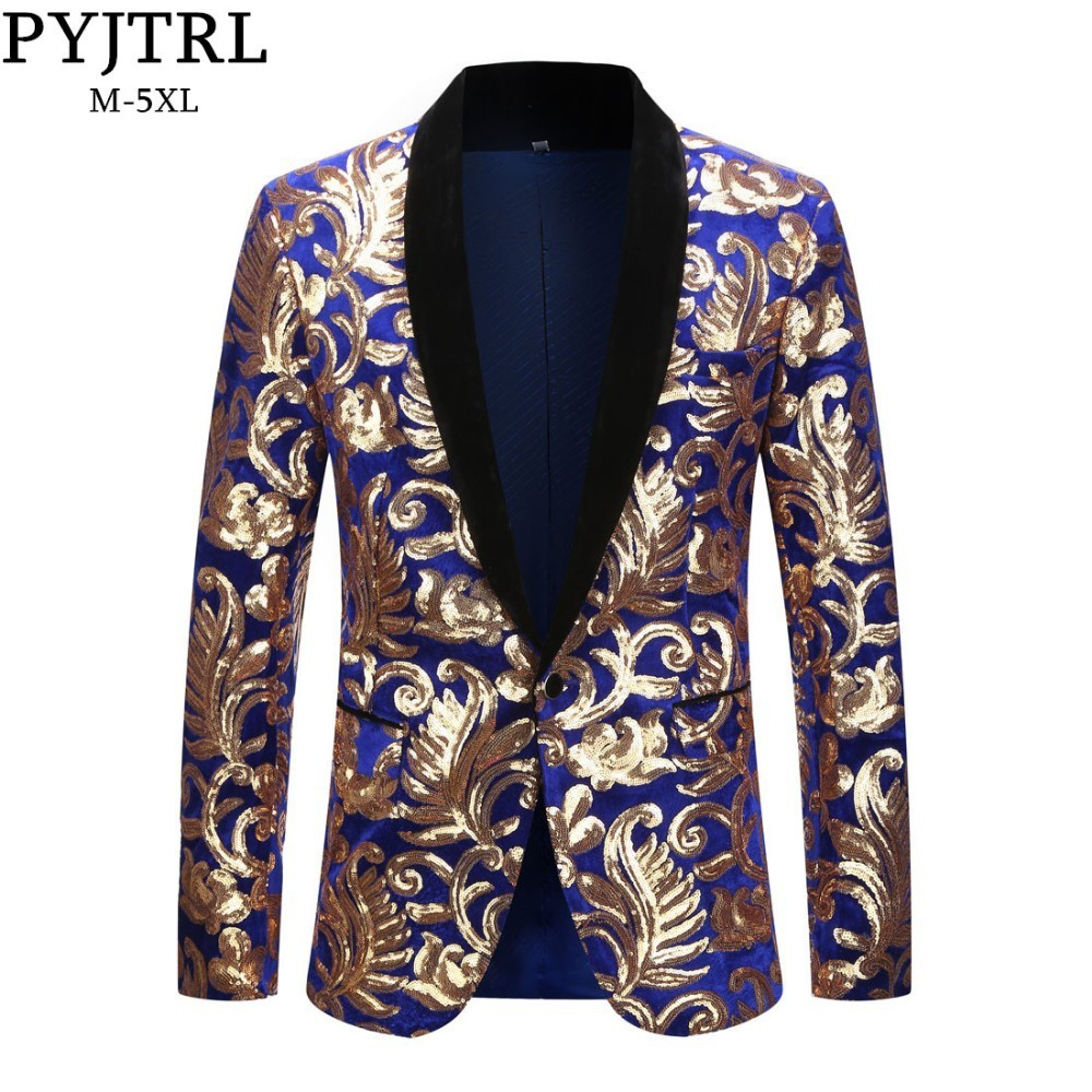 PYJTRL Mens Plus Size 5XL Fashion Shawl Lapel Floral Sequins Royal Blue Velvet Slim Fit Blazer Stage Singer Wedding Suit Jacket