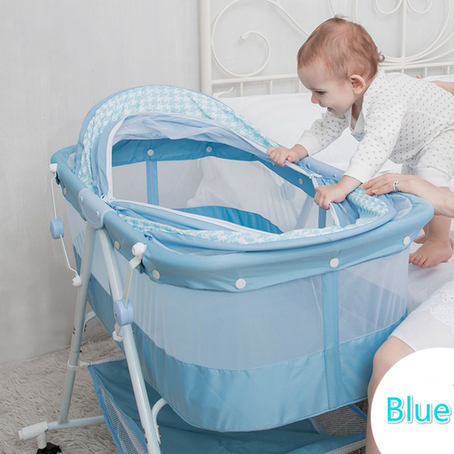 Baby Sleeper Mental Baby Crib Portable Cradle Bed Multifunctional Child  Rocking Bed Folding With Belt Roller