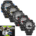 1 PC Sanda Men Digital LED Black Stainless Steel Sports Military Alarm Day Date Wrist Watch