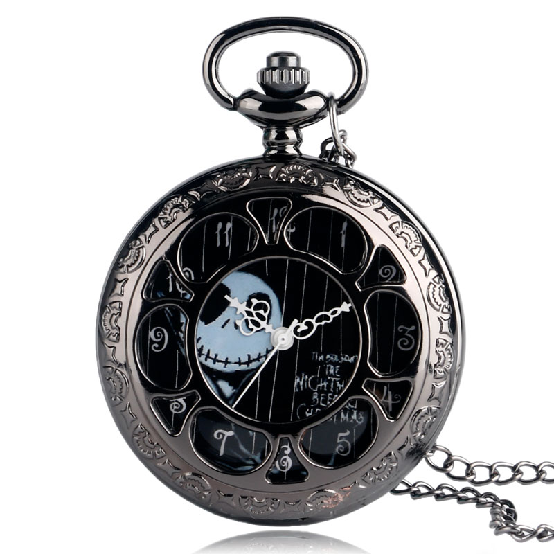 Classic BlacK Half Hunter Old The Nightmare Before Christmas Design Pocket Watch With Necklace Chain Steampunk Pendant Fob Gift