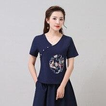 цена на Spring Summer Ethnic Embroidery V-neck Beading Button Cotton Linen Top Retro Women T-shirt