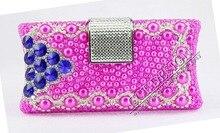 Handmade maß blau Kristall-kupplungs-abend-handtasche Fashion Handgemachte rosafarbene perlen tasche