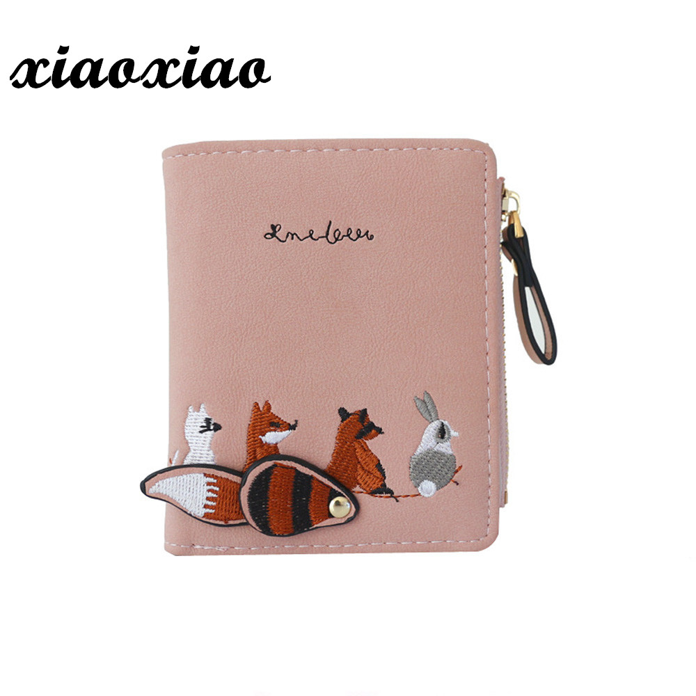 fd58bb9bbe23 US $1.91 22% OFF|Fashion Women's Wallet Lovely Cartoon Animals Short  Leather Female Small Coin Purse Hasp Zipper Kid Purse Card Holder For  Girls-in ...