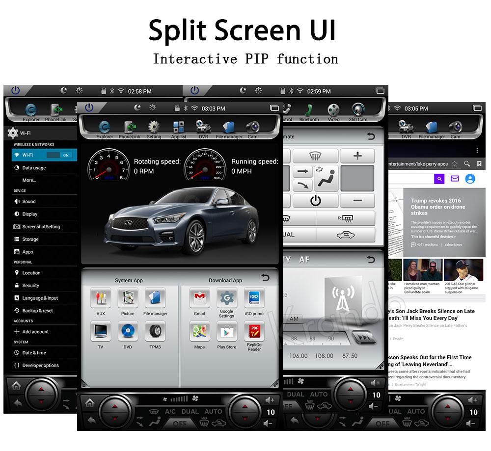Krando Android 7 1 12 1 Tesla Vertical screen car dvd audio radio player  for Infiniti Q50 Q50L gps navigation multimedia system BT