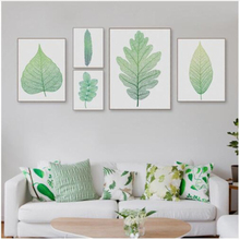 Green Plant Leaf Wall Art Canvas Painting Poster Picture Nordic Pastoral Minimalist Bedroom Living Room Decoration