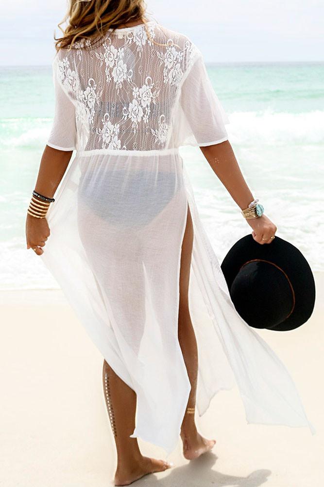 Trendy White Swimwear Bikini Beach Cover Up Pareo Beach Kaftan Sexy Bathing Suit Cover Ups Swimsuit Coverups Beach Wear Women 5
