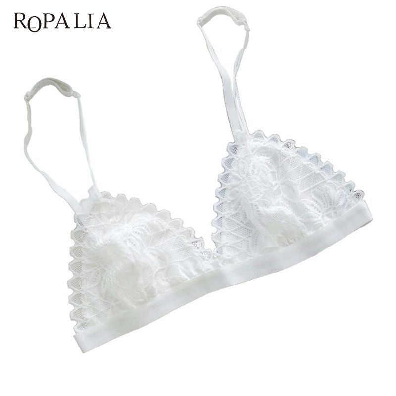 ملابس داخلية مثيرة للسيدات من ROPALIA حمالات صدر شفافة بدون خياطة من الدانتيل مزخرفة بالورود سلكية حمالات صدر للنساء
