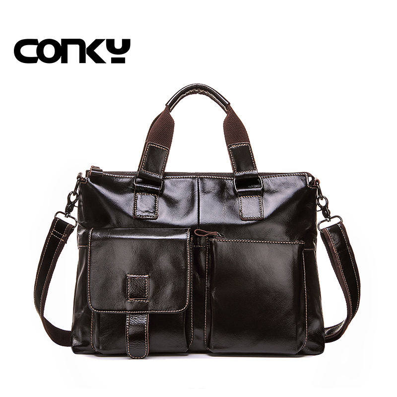 2016 New business briefcase laptop bag man genuine leather bags for men real leather handbags casual mens shoulder bag