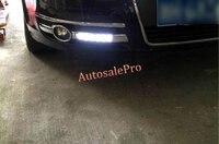for Audi A6 C5 2005 - 2008 Chrome black Front Fog light Day time Running Lamp DRL LED White