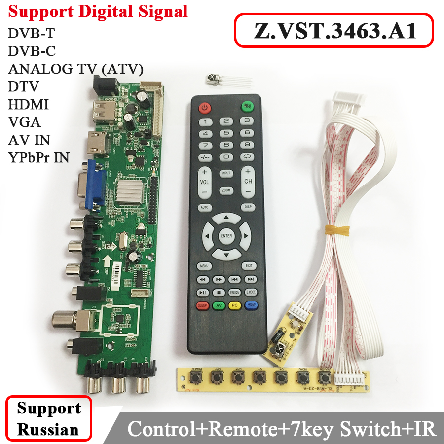Z.VST.3463.A1 Support Digital signal DVB-C DVB-TT2 with 7 key button Switch Universal LCD TV Controller Driver Better than V56