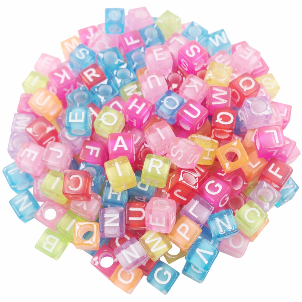 100pcs/lot Handmade Round Square Colorful Alphabet/ Letter Acrylic ...